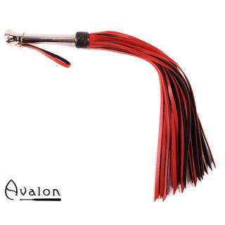 Avalon - HOLY GRAIL - Rød og Svart Flogger med Metallhåndtak med Kule