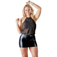 Cottelli Collection - Sexy minikjole med gjennomsiktig overdel - Sort
